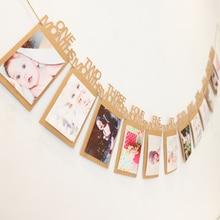 Kraft Brown 12 hónapos elsőéves fiú lány születésnapi fotó banner Garland 1. hónapos fotó bunting 1. születésnapi Baby dekoráció