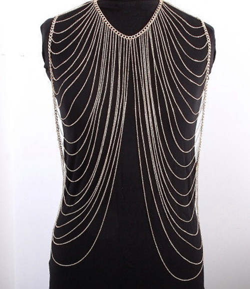 0e06ad937c4 Luxury Women Sexy Fashion Gold Silver Body Belly Waist Chain Harness Dress  Decor Shoulder Necklaces &