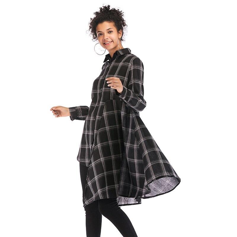 2019 nouvelle mode une longue, lâche, irrégulière robe de chemise à carreaux avec manches longues robes de mode pour les femmes livraison gratuite