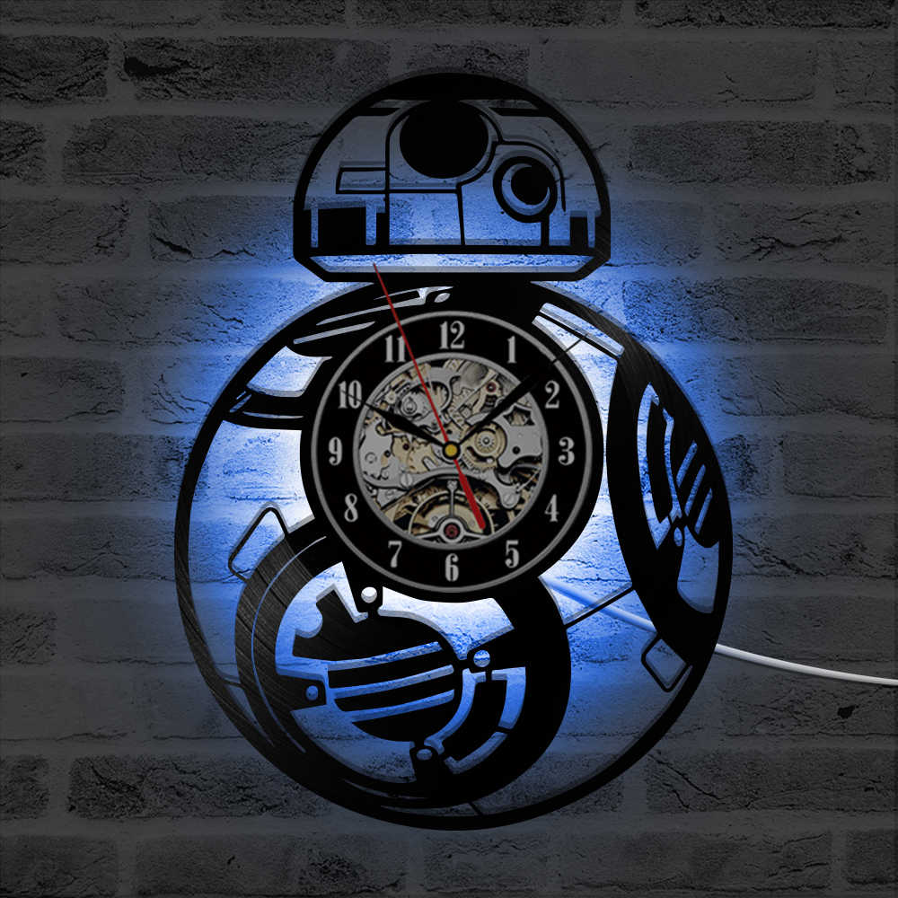 Светодиодный светильник, декоративные часы для записи компакт-дисков, часы Звездные войны, BB-8, дроид, винтажные виниловые настенные часы с пластиновой пластинкой, креативные подвесные классические светодиодный часы