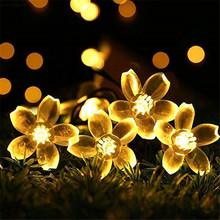 Światła słonecznego ciąg 12 m 100led brzoskwiniowy kwiat wodoodporna odkryty oświetlenie dekoracyjne Fariy oświetlenie świąteczne wesele ogród tanie tanio Ni-MH 1 2 v CCC CE RoHS Żarówki led Deco IP65 Klin w ciągu 1 roku Peach Flower Solar String Lights Wakacje ECLH Multicolor Warm White White