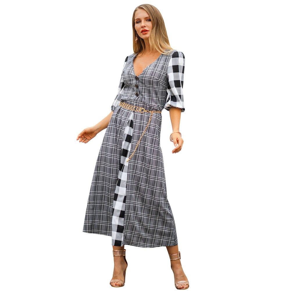 2019 Spring Summer New Three Quarter Sleeve Dress  V-Neck Long Sexy Dress