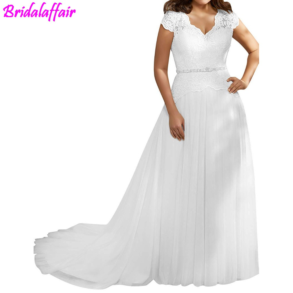 US $124.8 20% OFF|Wedding Dress Luxury Plus Size Lace Bride Dresses Cap  Sleeves Tulle Bridal Gown With Crystal Sash vestido de noiva Bride Dress-in  ...