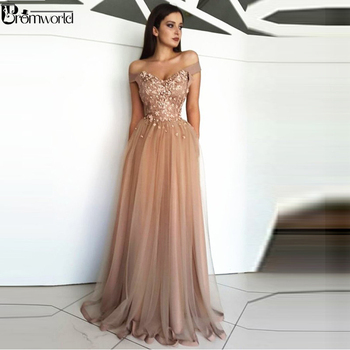 Champagne Prom Dresses 2019 Off the Shoulder Tulle Lace Flowers Party Maxys Long Prom Gown Evening Dresses Robe De Soiree 2