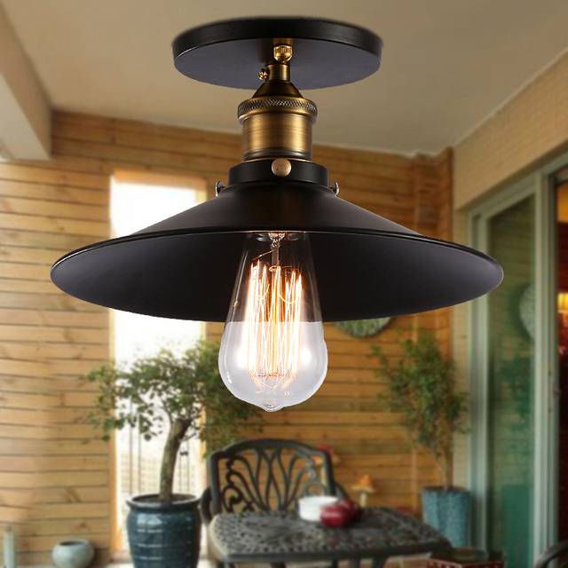 Energy Efficient Flush Mount Ceiling Lights Black Metal Shade Semi Entrance Hall Decorative