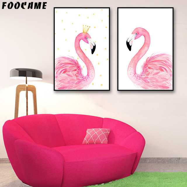 FOOCAME Cartoon Animal Flamingo Crown Posters and Print Art Canvas ...
