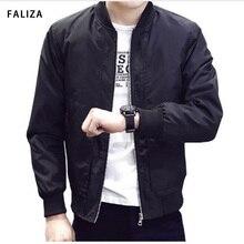 FALIZA New Spring Jackets Mens Bomber Jacket Black Baseball Collar Youth Slim Pilot Flight Men Coat JK-R