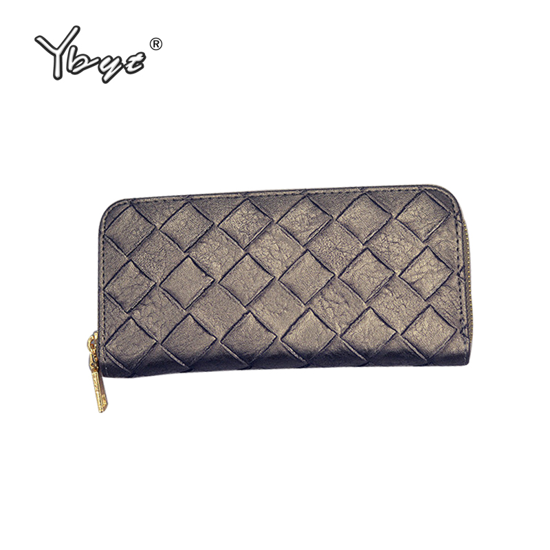YBYT brand 2018 new knitting PU leather package women evening clutch fashion casual zipper pack female wallet ladies long purse
