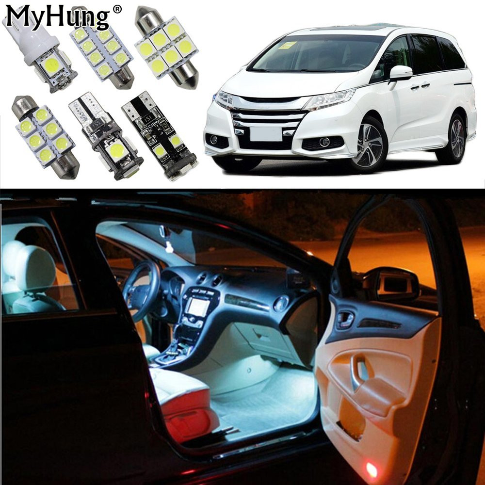 For Honda Odyssey Car Led Bulbs Replacement Bulb Dome Map Lamp Light Bright White 6pcs Car