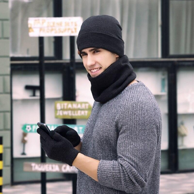 1 Satz Unisex Männer Frauen Strickmütze Schal Touch Screen Handschuhe Warme Winter Set