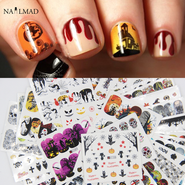 48pcs Halloween Nail Water Decals Pumpkin Skull Nail Art Tattoo