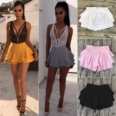 Women Girl Summer High Waist Frill Ruffle Flared Pleated Short Mini Shorts Solid Pink Black White