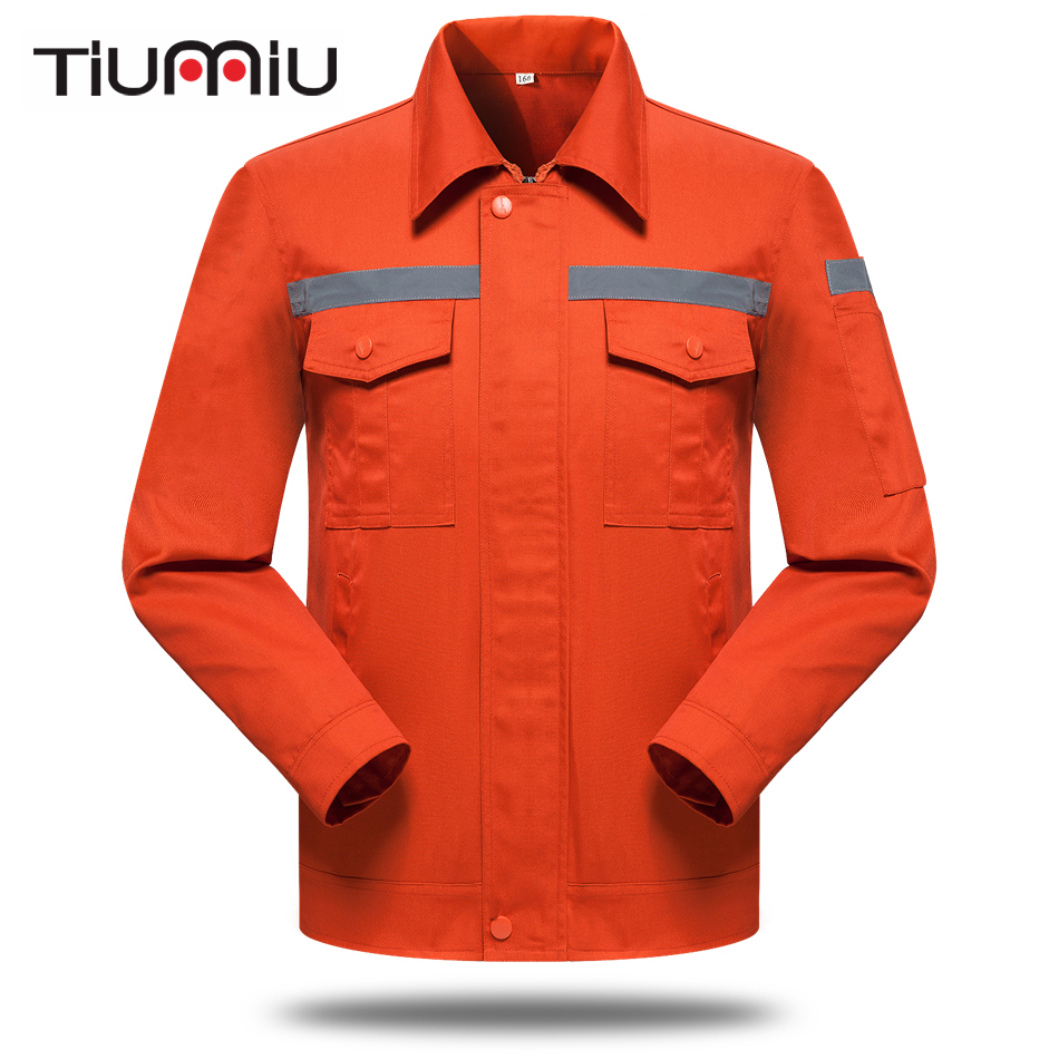 Orange Unisex Work Wear Set Sanitation Service Reflector Protective Clothes Men Workshop Coat with Pants Engineering Service Set