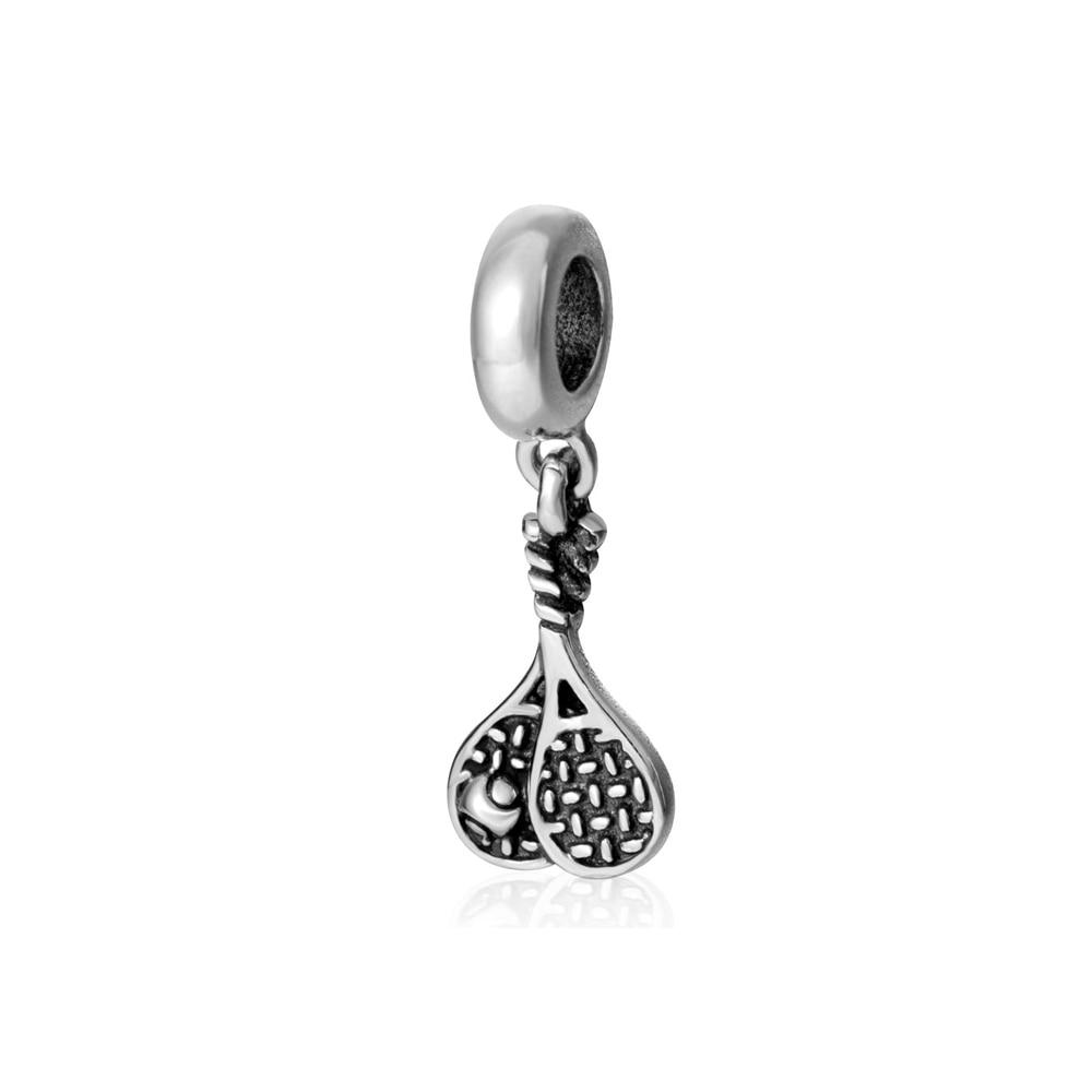 Tennis Charm Bracelet: 100% Real 925 Sterling Silver Tennis Racket Pendant Charm