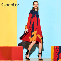 Clocolor Color Block Dress Red Women Loose 2017 Asymmetrical Casual Dress Long Sleeve Spring Fashion Female