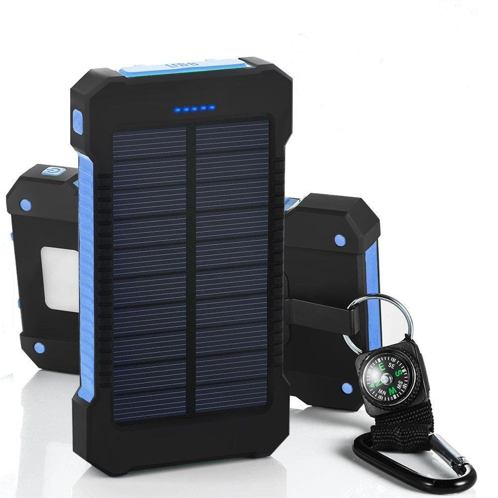Solar Power Bank 10000mah Dual USB Li-Polymer Solar Battery Charger Travel Powerbank With a compass retail package