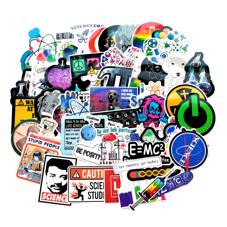 TD ZW 51 Pcs/lot Science Lab Chemistry Physics Scientists Funny Stickers For Laptop Notebook Luggage Decor