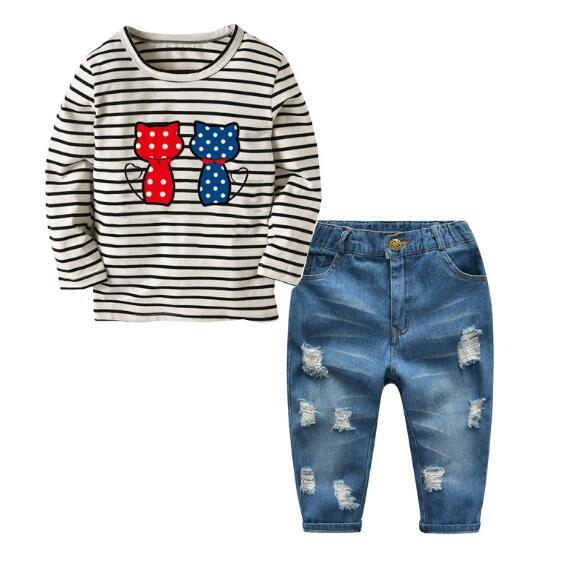 Girl's Fashion Suits 100% Cotton 2018 Striped T-Shirt+Hole Jeans 2PCS Pant Set Street Style Kids Outfits Children's Clothing Red fashion baby girl t shirt set cotton heart print shirt hole denim cropped trousers casual polka dot children clothing set