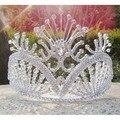 Бесплатная доставка большие пользовательские тиара высокий конкурс Королевы тиара Горный Хрусталь новобрачных тиара серебряный партия украшение девушки короны, тиары