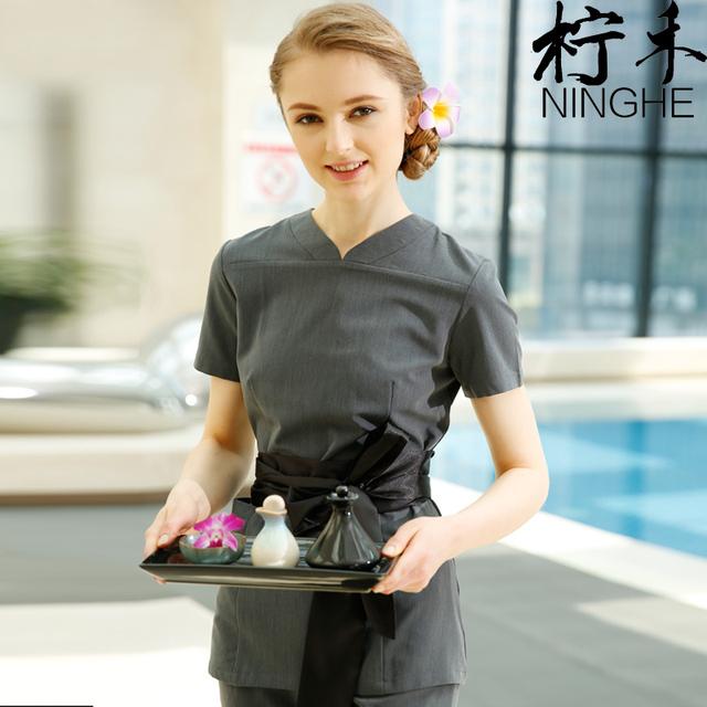 Mulheres trabalham uniformes macacão Médica de alta qualidade bow tie blusas SPA trabalho Técnico roupas cinza v pescoço tops + pants conjunto de vendas