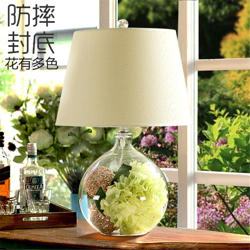 Nordic modern minimalist creative dry flower glass table lamp living room bedroom bedside flower desk lamp free shipping