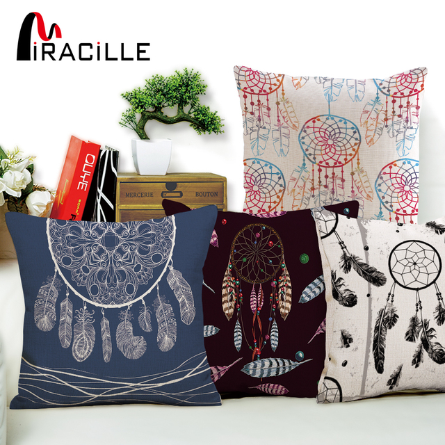 Miracille Dream Catcher Printed Cushion Cover Living Room Bed Pillowcase Indian Feather Sofa Throw Pillow Case