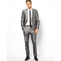 New Arrival tuxedos for men silver gray Wedding Suits For Men 2 pieces men suits slim fit two buttons groomsmen suits