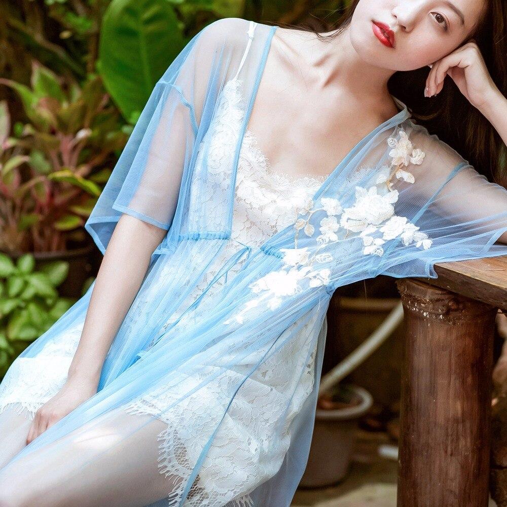 LYNETTE'S CHINOISERIE été Design Original femmes bleu maille longues Cardigan robes