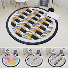 Nordic Geometric Plaid Round Carpet Bedroom Living Room Computer Chair Floor Mats Kids Play Tent Gym Decorative Crawling Carpets