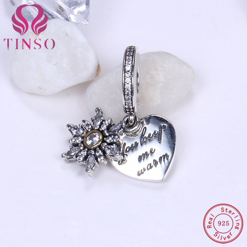 New Authentic 100% 925 Sterling Silver Heart and Snowflake Beads Fit Pandora Charms Original Bracelet for Jewelry Making DIY