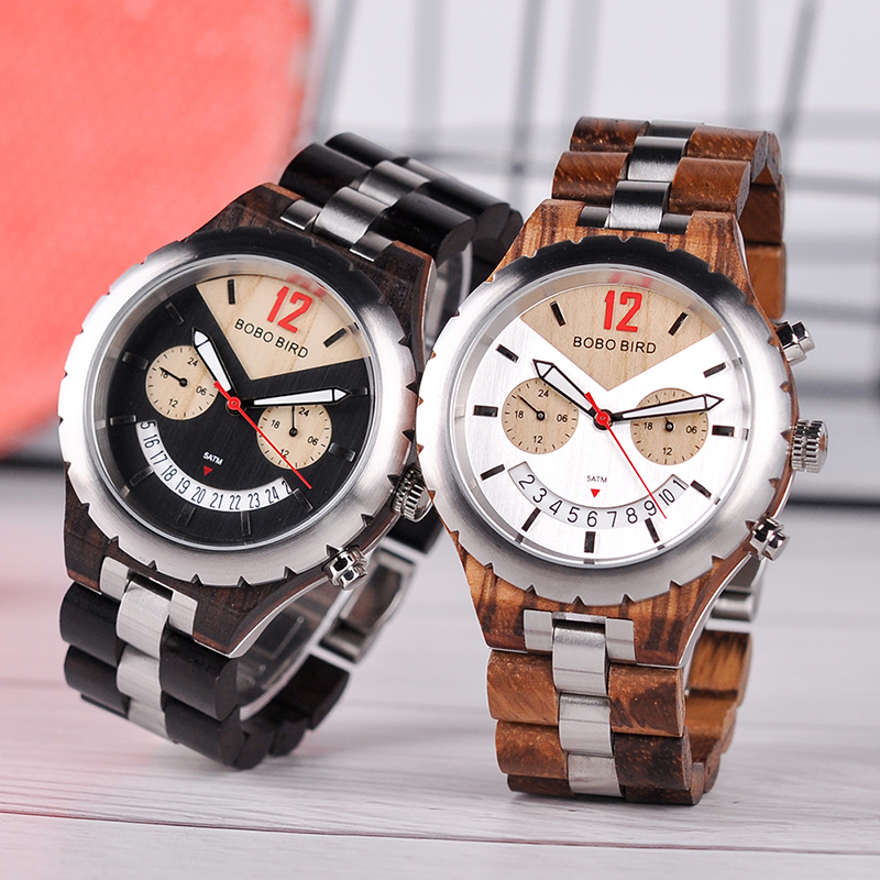 BOBO BIRD Watch Men Luxury Metal Wood Watches Stainless Steel With Date Display Multiple Color Timepiece relogio masculino