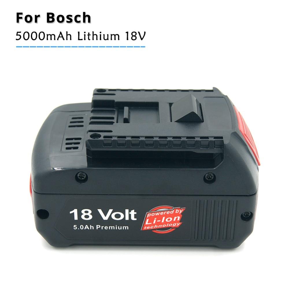 18V Lithium Ion 5000mAh Tools Battery for Bosch BAT609 BAT618 2607336169 BAT618G BAT609 with Led Power Light 2x eleoption bat609 replacement for bosch rechargeable battery 18v 4000mah li ion battery for bosch 17618 bat618 with led light