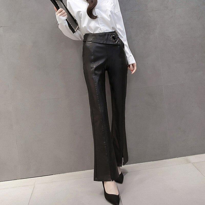 De Con Bolsa Bota Pantalones Gran Moda Nuevo Cuero Mujer Lavado Las Negro Corte Punk Cordón Mujeres Agua Cadera La Pu Delgada CqxSAwt