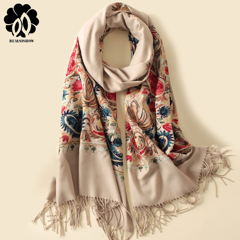 2018 New Style Autumn Winter Scarf Vintage Embroidery Thick