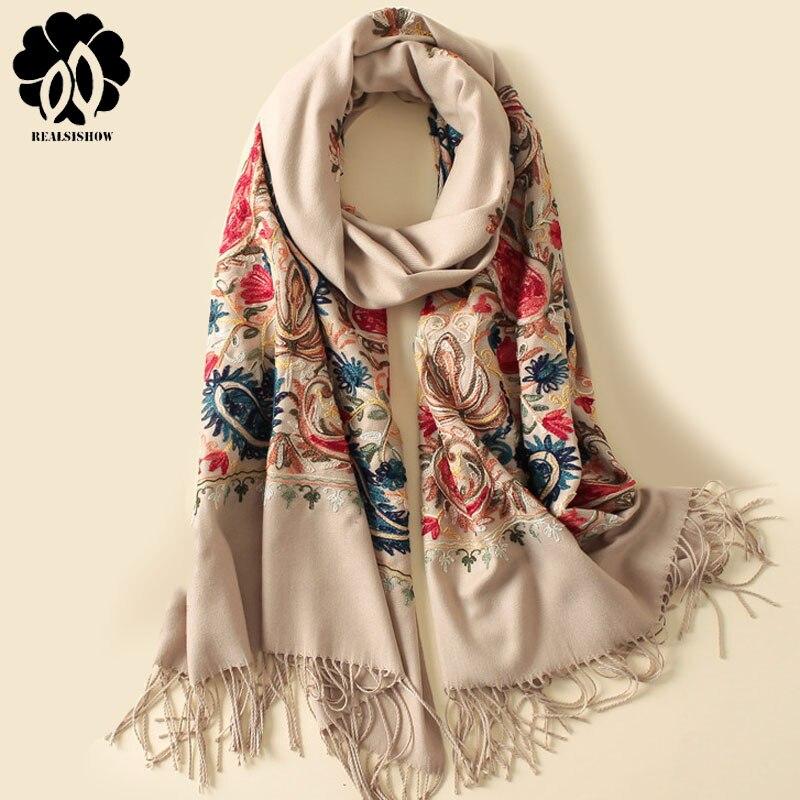 2019 New Style Autumn Winter   Scarf   Vintage Embroidery Thick Warm Women   Scarves   Cashmere Shawls and   Wraps   Pashmina Ladies Bandana