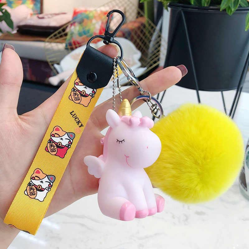 Animal dos desenhos animados Fluffy Rabbit Fur Pom Pom Bonito Pônei Unicórnio Cavalo Chaveiro Boneca Sino Anel Chave Mulheres Bolsa Chave Do Carro chains Bijuterias