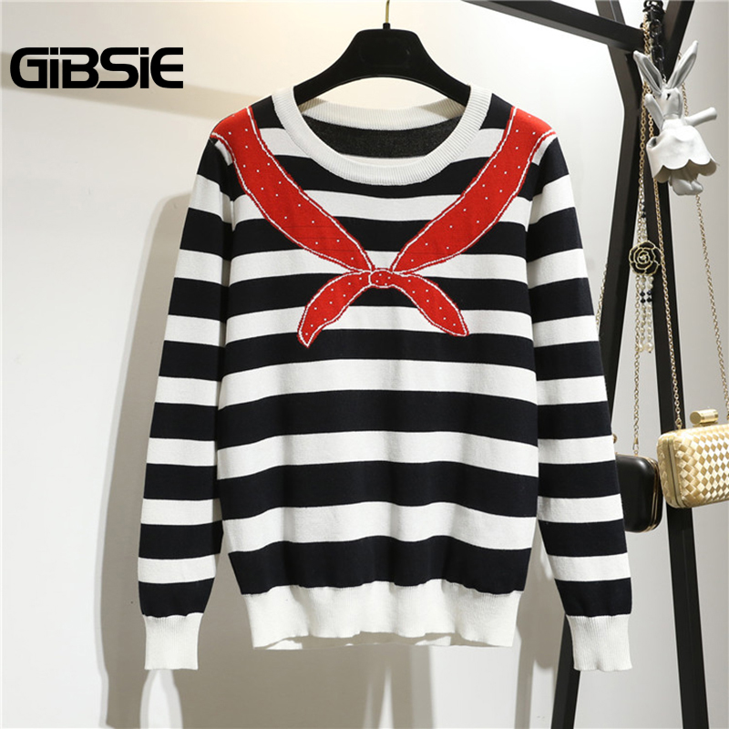 GIBSIE Plus Size Women Clothing 5XL 4XL Autumn Striped Knitted Sweater Women Jumper Pullover Long Sleeve Casual Tops Female