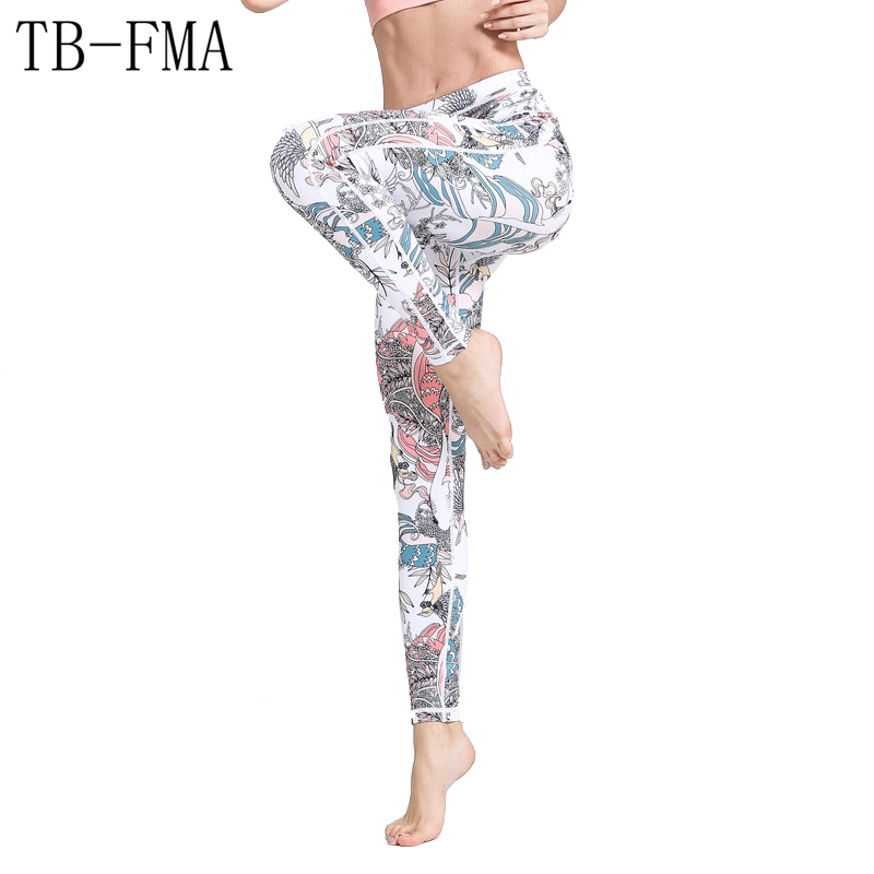 Sexy Yoga Pants High Waist Stretchy Dry Fit Sports Leggings Floral Fitness Running TightsPush Compression Sportswear Yoga Pants