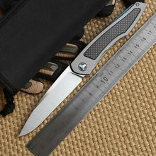 Quality Folding Knife Ball Bearing Flipper Titanium+Carbon Fiber Handle D2 Blade Outdoor Camping Survival Pocket Knife EDC Tool