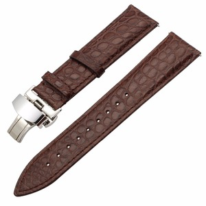 """Image 2 - 18 מ""""מ 20 מ""""מ 22 מ""""מ אמיתי תנין רצועת השעון מהיר שחרור אמיתי עור שעון להקת פלדת פרפר אבזם רצועת יד חגורת צמיד"""