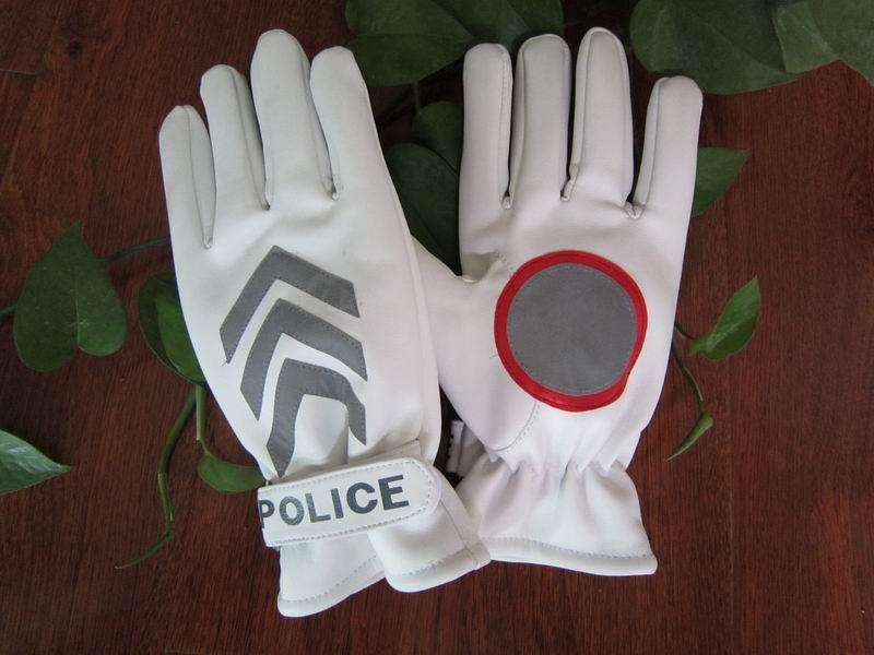 Spedizione gratuita 2pairs qualità traffico invernale istruzioni in vera pelle guanti pattuglia sicurezza riflettente logo guanto di polizia