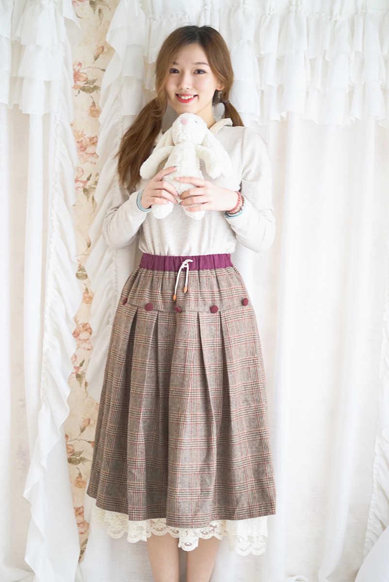 Japão Estilo Harajuku Saia Mori Menina Plaid A-line Estilo Preppy Estudante Do Sexo Feminino Casual Mulheres Primavera Saia Saia Saia de Cintura Elástica