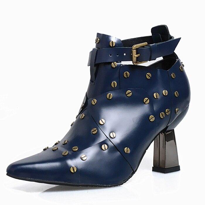 2017 début du printemps nouvelles bottes mode Martin chaussures femmes bottine Chelsea talons hauts boucle Rivet clouté botte femmes rouge en cuir - 5