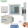 RAYKUBE Kit de Control de Acceso + Electric Huelga Lock Contraseña de Control de Acceso RFID Teclado + Mandos ID + Botón Exit Diy Kit