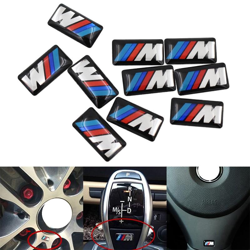 10pcs M Mpower M-tech Emblem Badge Sticker Wheel Decal for BMW E46 E30 E34 E36 E39 E53 E60 E90 F10 F30 M3 M5 M6 Car-styling soarhorse car rear trunk lid emblem badge chrome letters 320i 325i 328i 330i 335i sticker for bmw 3 series e30 e36 e46 f30 e90