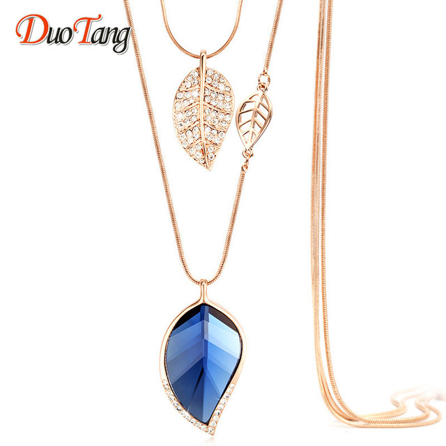 DuoTang New Classic Double Layers Clear Leaves Pendant Necklace High  Quality Fashion Elegant Crystal Necklace Woman fb550c51fa99