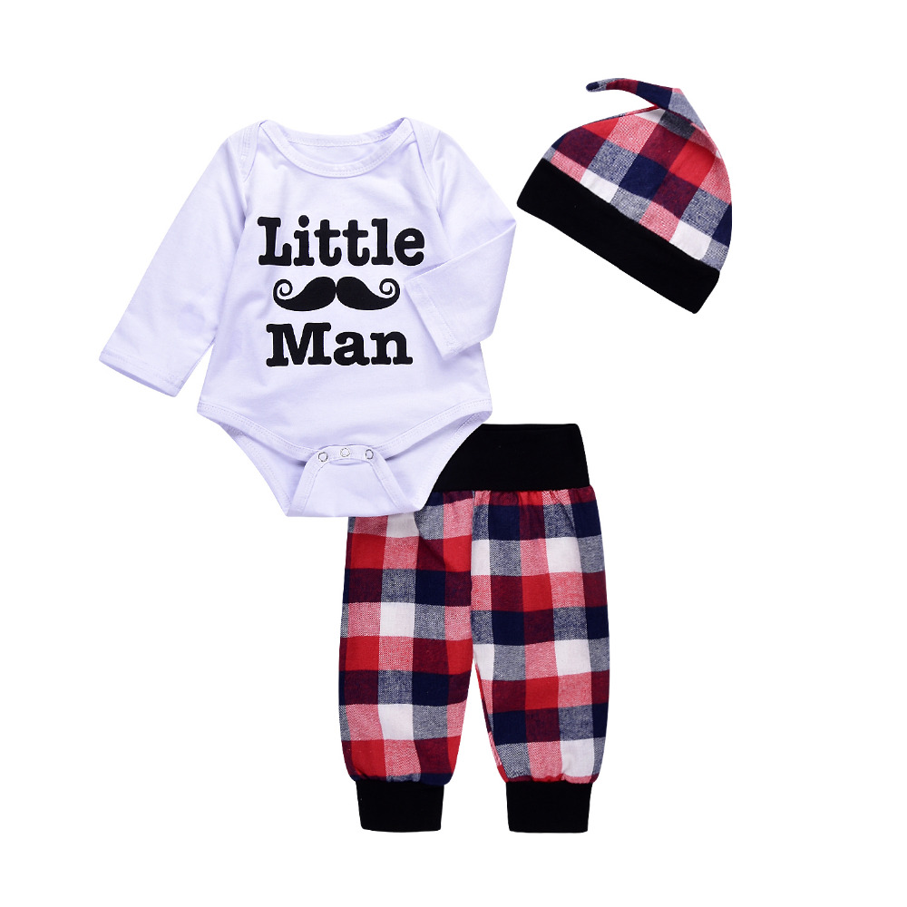 Fashion Summer Cotton Newborn Baby Boys Cute Bodysuits with lattice Leggings Cap 3pcs Outfit Clothes ship from USA