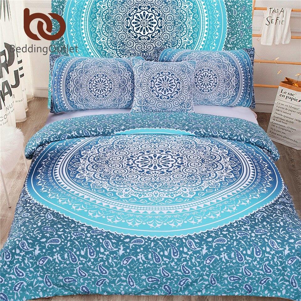 BeddingOutlet 5pcs Bed in a Bag Bedding Set Boho Blue Twin Full Queen King Bohemian Bedding Twin Full Queen King Duvet Cover