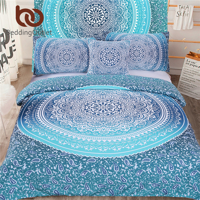 Beddingoutlet 5pcs Bed In A Bag Bedding Set Boho Blue Twin Full Queen King Bohemian