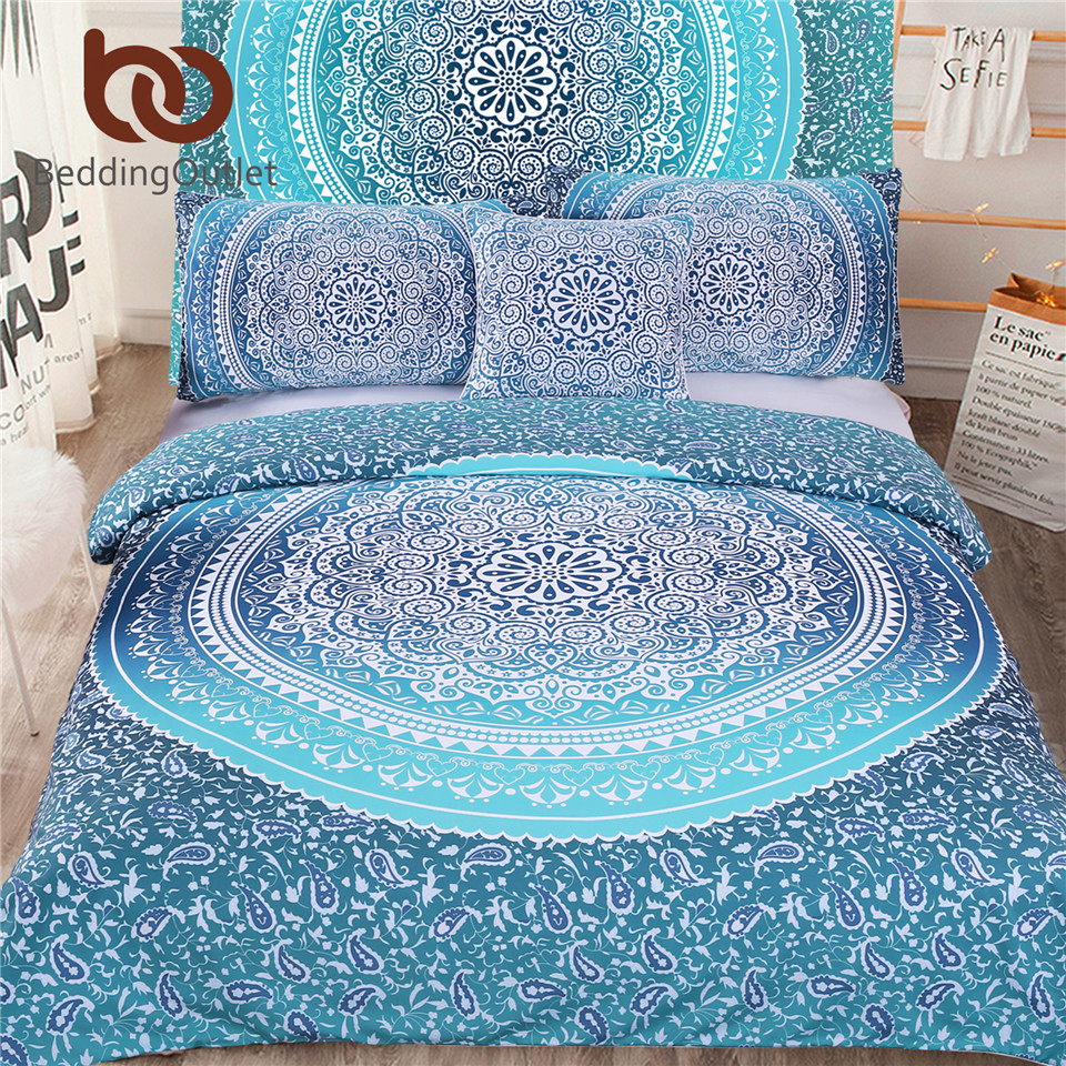 BeddingOutlet 5pcs Bed in a Bag Bedding Set Boho Blue Twin Full Queen King Bohemian Bedding Twin Full Queen King Duvet Cover